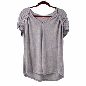 Juicy Couture Gray & White Stripe Cap Sleeve Top
